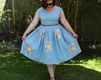 Vintage Style Dress, Hand Painted Dress, 50s Style Dress, Floral Cotton Dress, 1950s, Floral Dress, Cotton Dress, 50s Dress, 50s Full Dress