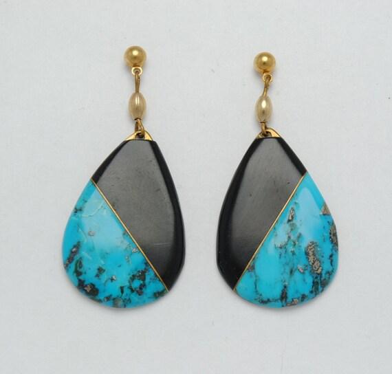 Boucles d'oreille en turquoise et onyx
