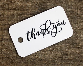 Thank You Tags - Personalized Paper Gift Tags - Wedding,  Bridal, Baby Shower Tags - Party Favor Tags - 35 Hang Tags - Gift Labels - Unique