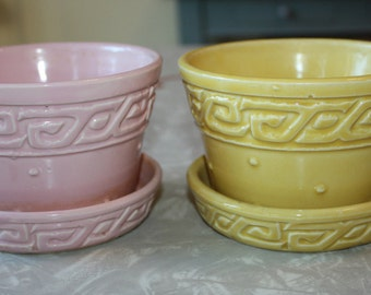 Mid-Century McCoy Pink, Yellow Greek Key Planters, 2-Piece Set