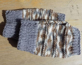 Wristies, Wrist Warmers, Arm Warmers, Fingerless Gloves in Grey and Brown