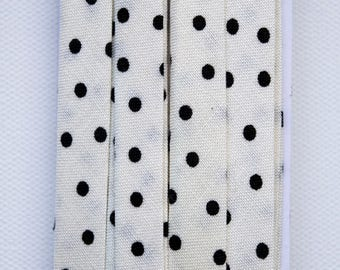 Off-White with Black Polka Dots Handmade Double Fold Bias Tape