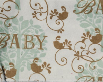 Baby Scroll Print Flannel Baby Blanket