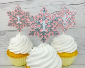 Winter Onederland Cupcake Toppers, Little Snowflake Cupcake Toppers, Silver Glitter Snowflake Topper, Christmas Toppers