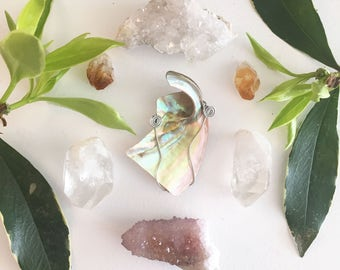 silver wire wrapped abalone pendant #5