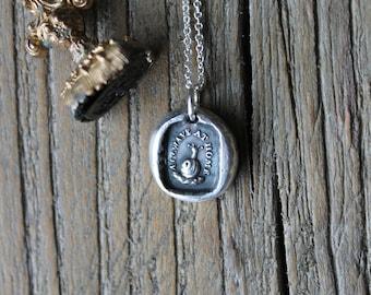 Snail wax seal fine silver charm