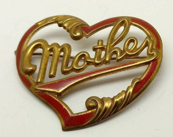 Vintage Mother inscribed in a Heart Brooch