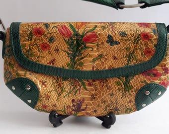 Womens Purse, Faux Leather Handbag,Floral Hand Bag, Shoulder Purse, Boho Purse, Gift for Her,Leather Purse, Gypsie Purse, Bohemian Purse,