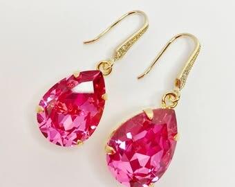 Rose Pink Crystal Drop Earrings Pink Swarovski Dangles Pink Bridal Earrings Bridesmaid Gift Mother of the Bride Sparkly Teardrop Earrings