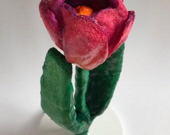 Sugared Tulip Decor- spuncotton, handmade tulip sculpture, spring decor, springtime, Easter flowers, flower art, flower sculpture