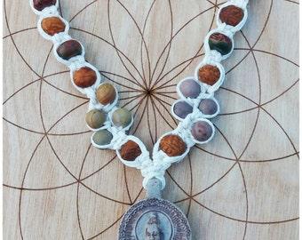 Buddha Hemp Macrame Necklace, Clay Buddha Pendant Hemp Necklace, Bodhi Seed Bead Necklace, Jasper Hemp Necklace, Clay Buddha Amulet Necklace