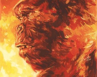 Original gouache painting of Kong from the film Kong: Skull Island.