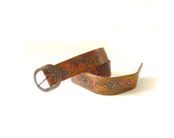 Hand Painted Floral Brown Leather Belt
