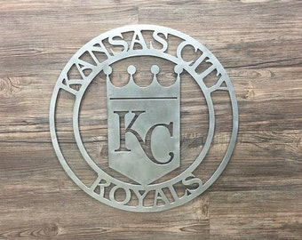 Kansas City Royals Circle With Logo (Home Decor, Wall Art, Metal Art)