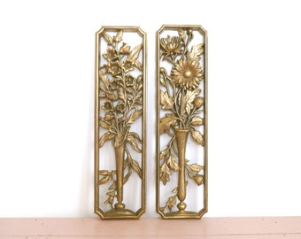 Vintage Burwood Gold Floral Wall Hangings