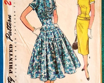"Vintage 1950s drop waist dress with slim or full skirt sewing pattern - Simplicity 4993 - plus size 18 (36"" bust, 30"" waist, 39"" hip) - 1954"