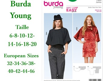 Burda, 6850, T- shirt, semi-fitted, 6-20, 2 models, 8 sizes, women, new, uncut, never used