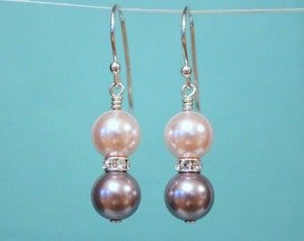 Pearl Earrings, Sterling Silver Earrings, Pearl Dangle Earrings, Swarovski Crystal Earrings, Birthday Gift, Bridal Earrings, Bridesmaid gift