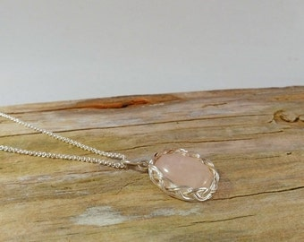 byNesse - rosequartz necklace - crystal pendant - silver necklace - silver wire pendant - sterling silver necklace - pink necklace - pendant