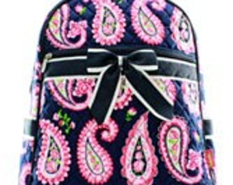 Quilted Navy Paisley Backpack/Bookbag - Personalized/Monogrammed
