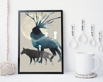 Princess mononoke art print, Miyazaki print, wall art, studio ghibli,  forest spirit, totoro, watercolor art print, home wall decor, gift