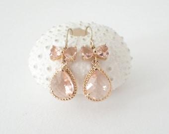 Peach Champagne Earrings Bow Earrings Dangle Earrings Vintage Style Earrings Romantic Style Earrings Rhinestone Earrings, Bridal Earrings