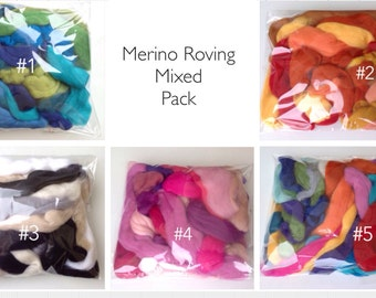 Wool Roving pack – Superfine Wool Fibers Assortments 100% merino, Mixed colors of wool for felting. Mixed Bag.  Spinning/Felting Fibers