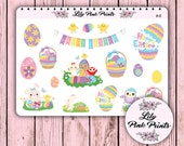 18 Happy Easter Time Sticker H-11 - Perfect for Erin Condren Life Planners / Journals / Stickers.