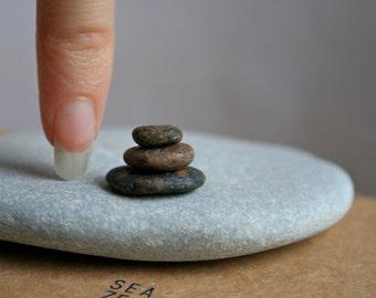 Miniature Stone Cairn - Tiny Pebbles - Zen Balance Stones - Fairy Garden