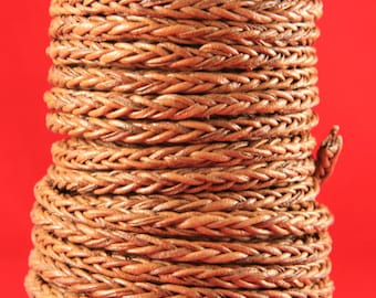 """MADE in EUROPE 24"""" braided leather cord, 4mm braided leather cord, square braided leather cord, 4mm braided tan leather cord (4tanbraided)"""