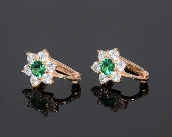 Flower earrings, Pretty earrings, Cute earrings, Gold earrings, Women earrings, Elegant earrings, Small earrings, Gift for girlfriend