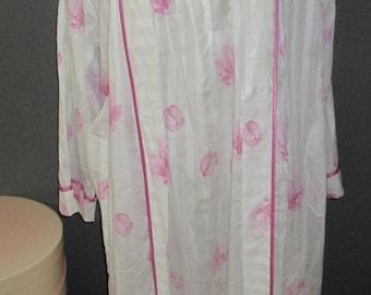 Vintage Diamond Tea Nightgown & Robe Set Floral Size Small