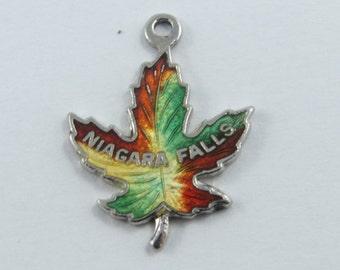 Enameled Niagara Falls Maple Leaf Sterling Silver Charm.