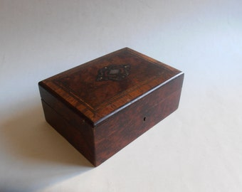 antique 1800's inlaid wooden jewelry box