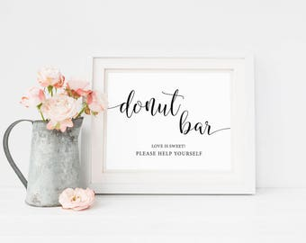 Donut Bar Sign, Wedding Donuts Sign, Donut Bar Printable, Dessert Table Sign, Wedding Reception Signs, Wedding Favor Sign, Instant Download