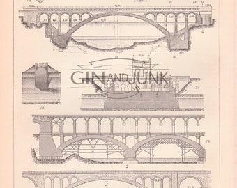Antique Bridge Print - Bridge Lithograph from 1890