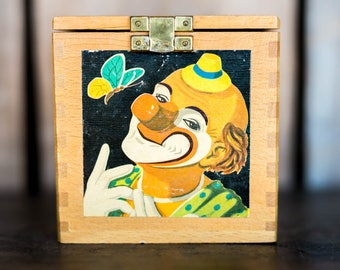 Vintage Clown Jack in the Box Toy - Pop Up Surprise Clown in Wooden Box - Collectible Vintage Toy Jack in the Box