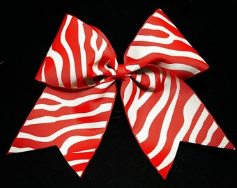 """3"""" Red and Silver Tiger or zebra strip cheer bow"""