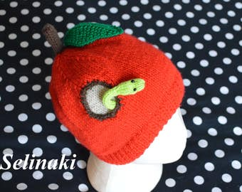 Knit Apple Hat with Worm