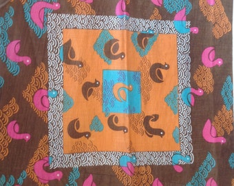 Kreier 100% Cotton Handkerchief - Geometric Duck Design in Brown, Orange and Pink - New and Unused From Vintage 1970 Stock