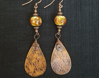 Boho Chic brown & green with antique copper  Lampwork Glass dangle earrings