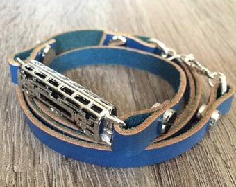 Navy Blue Leather Bracelet for Fitbit Flex 2 Activity Tracker Handmade Fitbit Flex 2 Band Adjustable Size Fitbit Flex 2 Multi Wrap Bands