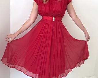 Late 1950's Crimson Party Dress // Adorable Waist Bow and Rhinestone Details // Extra Small