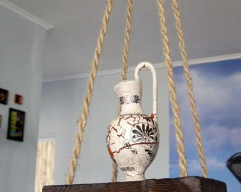 Reclaimed Wood Hanging Shelf, Rustic Rope Hanging Shelf, Wooden Wall Shelf, Bohemian Floating Shelf, Rustic Home Decor