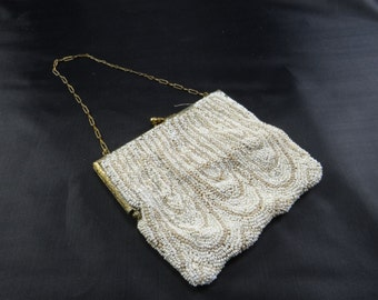 Beaded Clutch Purse Vintage Cream Beige Small Vintage Clutch