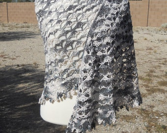 Dark Grey and White Variegated Cotton Crescent-Shaped Crocheted Shawl