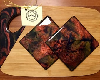 Resin set with Cheese board and 2 coasters