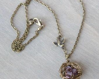 Purple Birds Nest Necklace - Bronze Necklace, Boho Necklace, Spring Jewelry, Bronze Nest, Mom Grandma Necklace, Family Jewelry