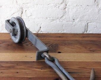Vintage Metal Double Philadelphia TramRail Company Industrial 2 Hook and Pulley Set Butcher Meat Trolley PA USA