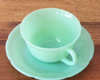 Vintage Set with 1 Jadeite Alice Tea Cup and 1 Saucer by Fire King Anchor Hocking Flower Jadite Dinnerware Green Glass Made in USA